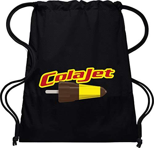 Camisetas EGB Bolsa Mochila Cola Jet ochenteras 80´s Retro (Negro)