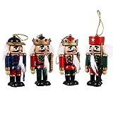 VOSAREA 4 Unids Árbol de Navidad Adornos de Cascanueces de Madera Mini Muñeca Estatuilla Árbol de Navidad Adornos Colgantes para La Decoración del Árbol de La Fiesta de Vacaciones