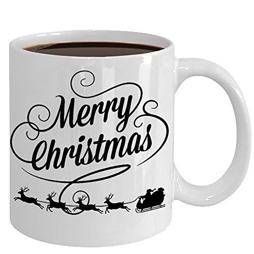 Irma00Eve Vrolijke Kerstmis Mok Santas Sleigh Koffie Cup Kerstmis Cadeau voor Vriend Medewerker Haar Hem Witte Olifant Stocking Stuffer Kerst Decor