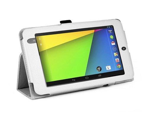 Sacchetto per Google Nexus 2 (2013) 7.0 Pollice Smart Cover Slim Case Stand Flip II. Generation (Bianco) NUOVO