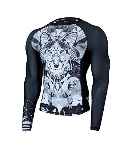 ADOREISM Wildling Series UV Protection Long Sleeve Rashguard Swim Shirts for Men Quick-Dry UPF 50+ MMA BJJ Rashguard for Men(Wolf,L)
