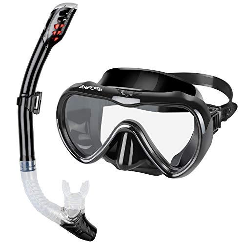 ZEEPORTE Snorkel Set, Anti-Fog Tempered Glass Panoramic Diving Mask, Dry Top Snorkel Gear with Purge Valve and Anti-Splash Guard, Watertight Anti-Impact Snorkeling Mask for Adults (Black, Medium)