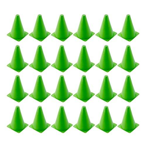 BESPORTBLE 24 Piezas Conos de Entrenamiento de Plástico Conos Deportivos Conos de Tráfico Mini Cono de Seguridad de Marcador de Agilidad para Actividades Al Aire Libre O Eventos Festivos (Verde)