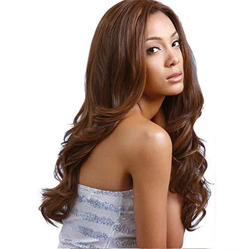 Cheveux longs noirs bouclés L'Europe et les États-Unis, perruque de mode haute température soie grande vague noire dans le long cheveux bouclés dames capuche en gros-marron