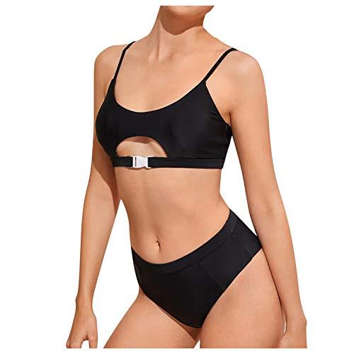 Bañador para Mujer Dos Piezas Sexy Colores Lisos Traje De Baño Moda Cintura Alta Bikinis Elegante Slim Fit Bañadores Ropa de BañO Playa Vacaciones