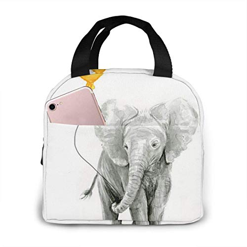 shenguang Elephant Baby Watercolor with Yellow Balloon Insulated Dual Compartment Lunch Bag for Women | Reusable Lunch Cooler Bag, Soft Leakproof Liner, Large Lunch Box Tote for Work, School