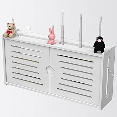 Estante de decodificador, soporte de caja de TV montado en la pared, caja de almacenamiento de enrutador WiFi, estante de pared de almacenamiento de enchufe de cable de alimentación/白色 / 48 * 24