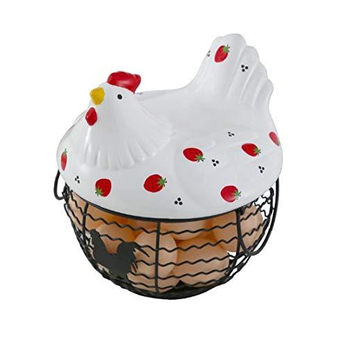 LjzlSxMF Titular de Huevo de cerámica de Almacenamiento de Hierro Huevo Hogar Cesta del almacenaje de la Cocina Decoración Fresa gallina patrón Agua Cesta Puede almacenar 25 Huevos 1 Set