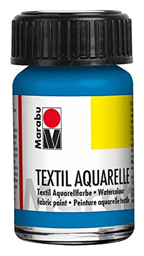 Marabu 17090039056 Textile Aquarelle Highly-Brilliant Pigmented Watercolour Water-Based for Light Textiles Odour-Neutral, Fade-Resistant, Saliva-Resistant Soft Grip 15 ml, Cyan, Blue