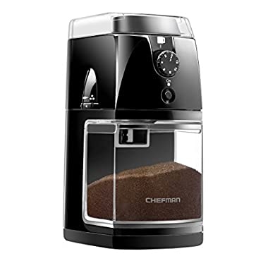 Chefman Coffee Grinder Electric Burr - Freshly 8oz Beans Large Hopper and 17 Grinding Options for 2-12 Cups, Easy One Touch Operation, Dishwasher Safe Parts, Cleaning Brush Included, Black