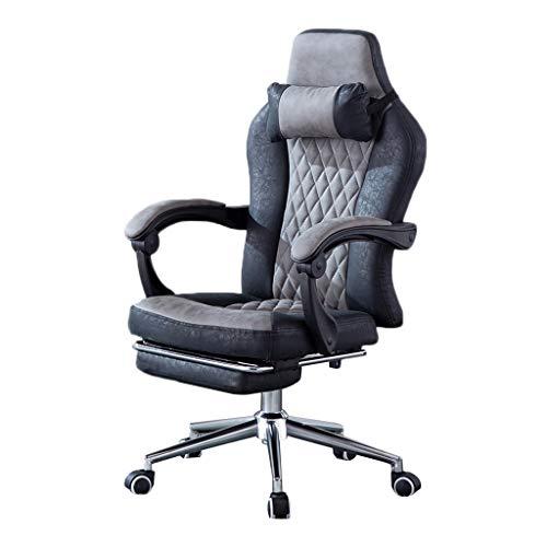 Sillas de Juego Estudio Asiento cómodo for el hogar Oficina Boss giratoria de elevación computadora reclinable (Color : Gray-Black, Size : 64 * 64 * 125cm)