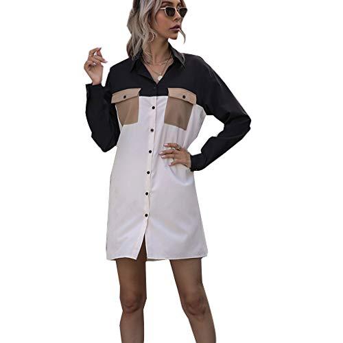 Bciou Women Button Long Shirt Casual Loose Blouse Tops Front Open Color Block Shirt
