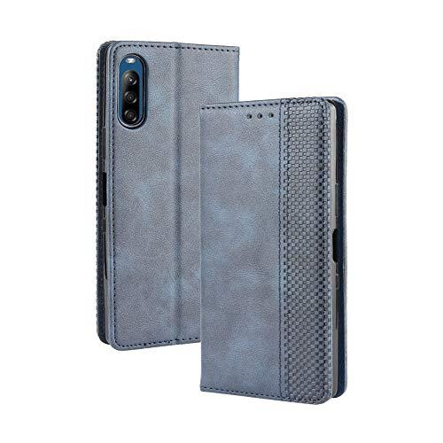 HAOYE Hülle für Motorola Moto G8 Power Lite, Retro Premium PU Leder Flip Schutzhülle, Leder Klapphülle Slim Lederhülle mit Standfunktion und Kartenfach TPU Innenraum Hülle Handyhülle, Blau