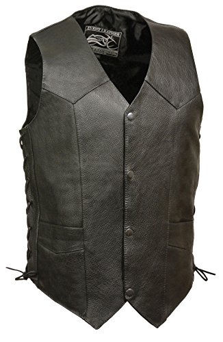 Event Biker Leather Men's Promo Side Lace Leather Vest (Black, Large)