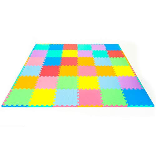 """ProSource Kids Foam Puzzle Floor Play Mat with Solid Colors, 36 Tiles (12""""x12"""") and 24 Borders, Assorted - 36 Tiles"""