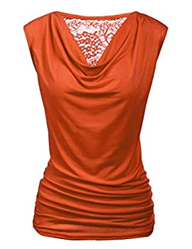 Zeagoo Women s Ruched Cowl Neck Tank Tops Sleeveless Stretch Blouse with Side Shirring Orange