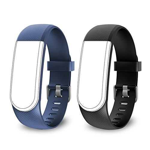 endubro Pulsera de Repuesto para ID101 HR | ID101 | VicTsing Pulsera Actividad | Omorc | Roguci | LETSCOM Fitness Tracker (Negro + Azul)