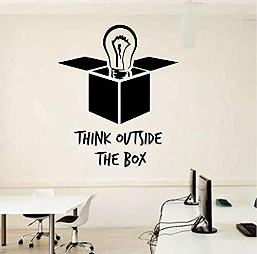 Wall Stickers Decal Office Quotes Light Bulb Outside The Box Inspirational Quotes Murals Poster Diy 48X57Cm