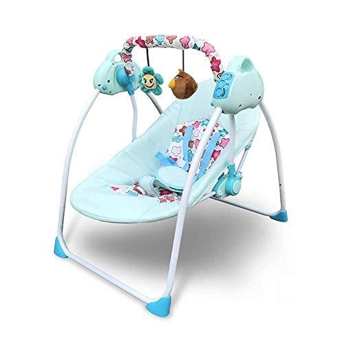 H&H Chaise De Berceau Électrique pour Bébé Chaise Pliable pour Bébé 0-3 Ans Portable Smart Music,Bleu,1