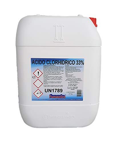 Fuensantica Ácido Clorhídrico 33% / Reductor Ph/Desincrustante 25 Kg.