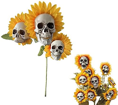 Skull Head Simulation Sunflower Garden Decoration, Outdoor Decorative Sunflower Garden Sunflower Stake, Yard Lawn Art Skull Head Ornaments for Pathway Decor, Scary Halloween Skeleton Decoration (C)