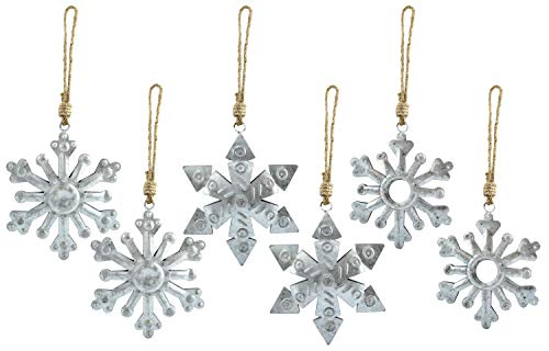 AuldHome Galvanized Snowflake Ornaments (6-Pack); Rustic Farmhouse Decor Metal Christmas Tree Decorations, Large 6-Inch Diameter