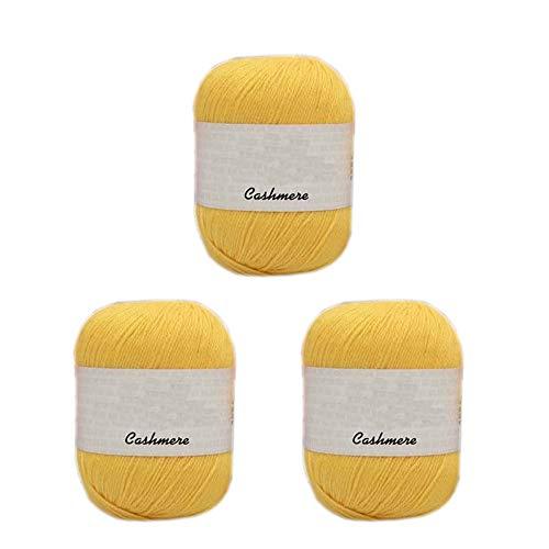 Truevalue 3 Balls 100 Cashmere Merino Wool Blend Yarn Soft Cashmere Thread Knitting Crochet Fuzzy Yarn for DIY Sweater Scarf Gloves Total 150g (Yellow)
