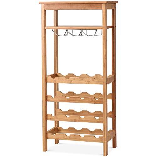 COSTWAY Weinregal für 16 Flaschen, Weinschrank Bambus, Flaschenregal mit Glasaufhänger, Weinständer freistehend, Flaschenständer für Küche, Bar, Esszimmer, Wohnzimmer