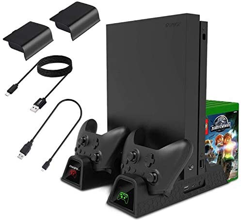 Lictin Xbox One Cooling Vertical Stand - Dual Controller Charging Docking Station for Xbox One/ Xbox One S /Xbox One X Console with 2 Pack 600mAh Batteries and 2pcs Charging Cables