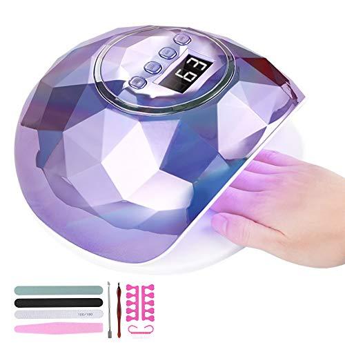 Aischens Nageltrockner Lampe, 86W UV LED Lampe für Nägel, Professionelle Gel UV LED Nagellampe mit Sensor LCD Display mit 4 Timer, Auto-Sensor Nagelwerkzeuge für Fingernagel und Zehennagel