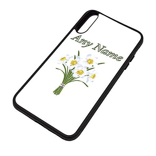 UNIGIFT gepersonaliseerd cadeau - White Narcissus iPhone X hoesje (natuur planten ontwerp thema, kleur opties) - elke naam/bericht op uw unieke - Apple TPU Cover - lente lamp Daffodil Griekse mythologie