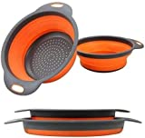 Collapsible Colander, 2 Foldable Kits, DLD Food Grade Silicone Kitchen Strainer...