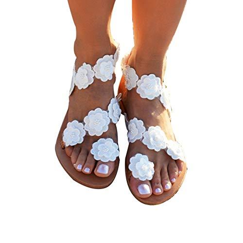 Sfit Damen Sommer Sandalen Böhmen Stil Flach Sommerschuhe Zehentrenner mit Blumen Strass Pantoffel Flip Flop