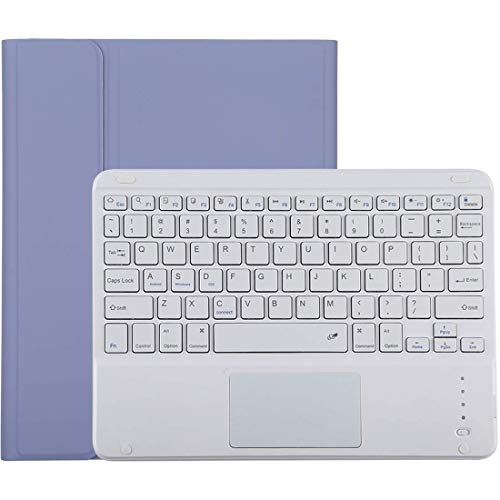 Wireless Keyboard Case for IPad 10.2 Inch IPad Air, Detachable Bluetooth Keyboard + Microfiber Leather Protective Case, with Touch Pad & Pen Slot & Holder Movoo (Color : Purple)