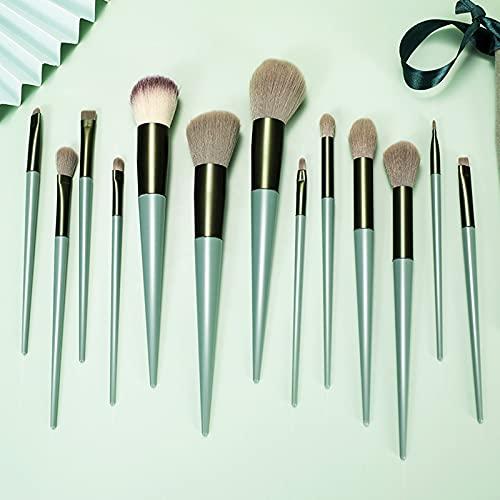 TAKUZA Make Up Pinsel Set, 13 Stück Grün Pinselset Makeup, Schminkpinsel Set, Professionelles Make Up Set, Make Up Pinsel für Foundation, Lidschatten, Puder, Concealer, Augenbrauen,...