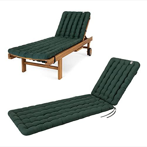 HAVE A SEAT Luxury – Cojín para tumbona de jardín (verde musgo) 200 x 60 cm, 8 cm de grosor, lavable a máquina a 95 °C, apto para secadora, cómodo cojín acolchado para tumbona tumbona, tumbona relax