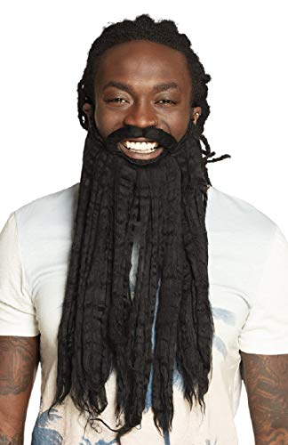shoperama Langer Rastaman Bart mit Schnäuzer Rastafari Jamaika Festival Karibik Dreadlocks Reggae Kostüm-Zubehör