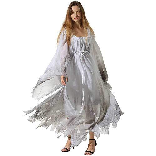 Hcxbb-b Halloween Damen Kostüm, Scary Ghostly Friedhof Zombie-Braut Hochzeitskleid, Kostüm, Plus Size (Farbe : White, Size : L)