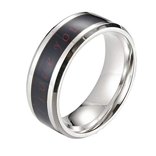 PAURO Herren Damen 8MM I Love You Temperatur Stimmung Ringe Versprechen Verlobung Ehering Edelstahl Silber Größe 68 (21.6)