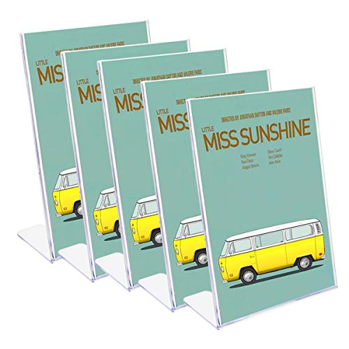 Hotyin - Porta cartelli in acrilico per menù in plexiglass, espositore per cartelli da bancone, per ristorante, sala conferenze e reception in hotel A4 x 5 trasparente.