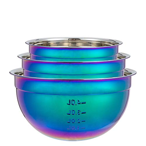 Mixing Bowl Set of three, Rainbow Salad Bowls 18/10 Stainless Steel Bowl 3 Piece Colorful Nesting Bowl Deep for Kitchen Chef Prep Cooking, Baking, Salad Fruit, Food Preparation, Cake Measure Bowl