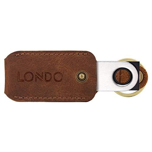 Londo - Funda de Piel con Llavero para Ledger Nano S Bitcoin (Unisex), Color marrón