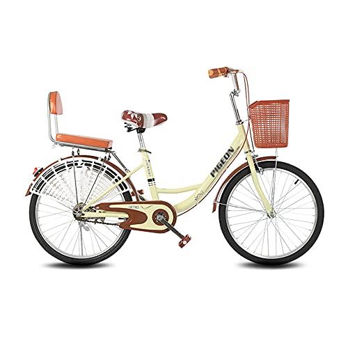 Bicicleta, Bicicleta de Viaje de Moda Retro, Bicicleta de Ocio de una Sola Velocidad de 26 Pulgadas, Asiento Ajustable, Marco de Bajo Alcance, para Trabajadores de Oficina/Estudiantes/A