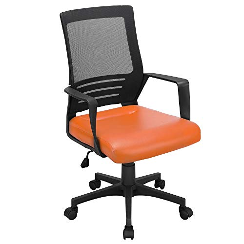 YAHEETECH Leather Seat & Breathable Mesh Office Chair with Wheels, Ergonomic Adjustable Height Task Chair for Kids Orange