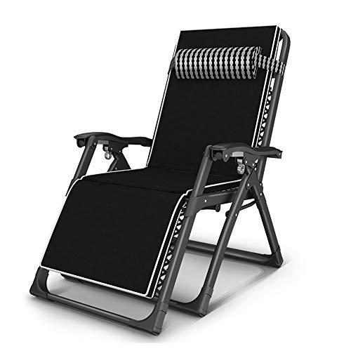 FUFU Tumbonas Jardin Exterior Sillones reclinables, silla de tumbona al aire libre con sistema de bloqueo de gravedad cero Sillón extragrande acolchado ajustable acolchado XL con soporte para reposaca
