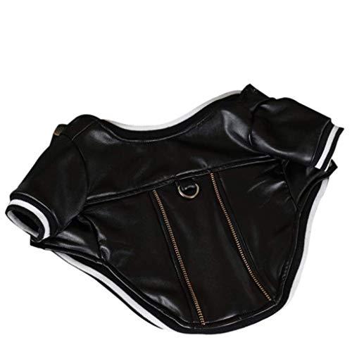 DFJU Pet Warm Coat Massive PU-Lederjacke Kleidung für Hunde Welpenkostüm mit Traktionsseilschnalle