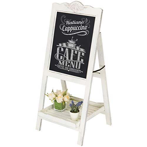 Decorative Vintage White Washed Brown Wood Large Freestanding Chalkboard Message Board Easel - MyGift