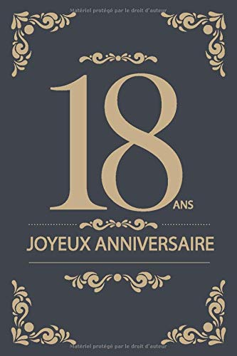 Joyeux Anniversaire - 18 ans: Noir - Carte livre (15,24x22.86cm) (French Edition): Joyeux Anniversaire - 18 ans for filles et Garçon