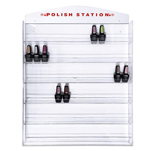 Acrylic 6 Rows Transparent Clear Nail Polish Wall Display Rack - Holds up to 90 to 120 Bottles