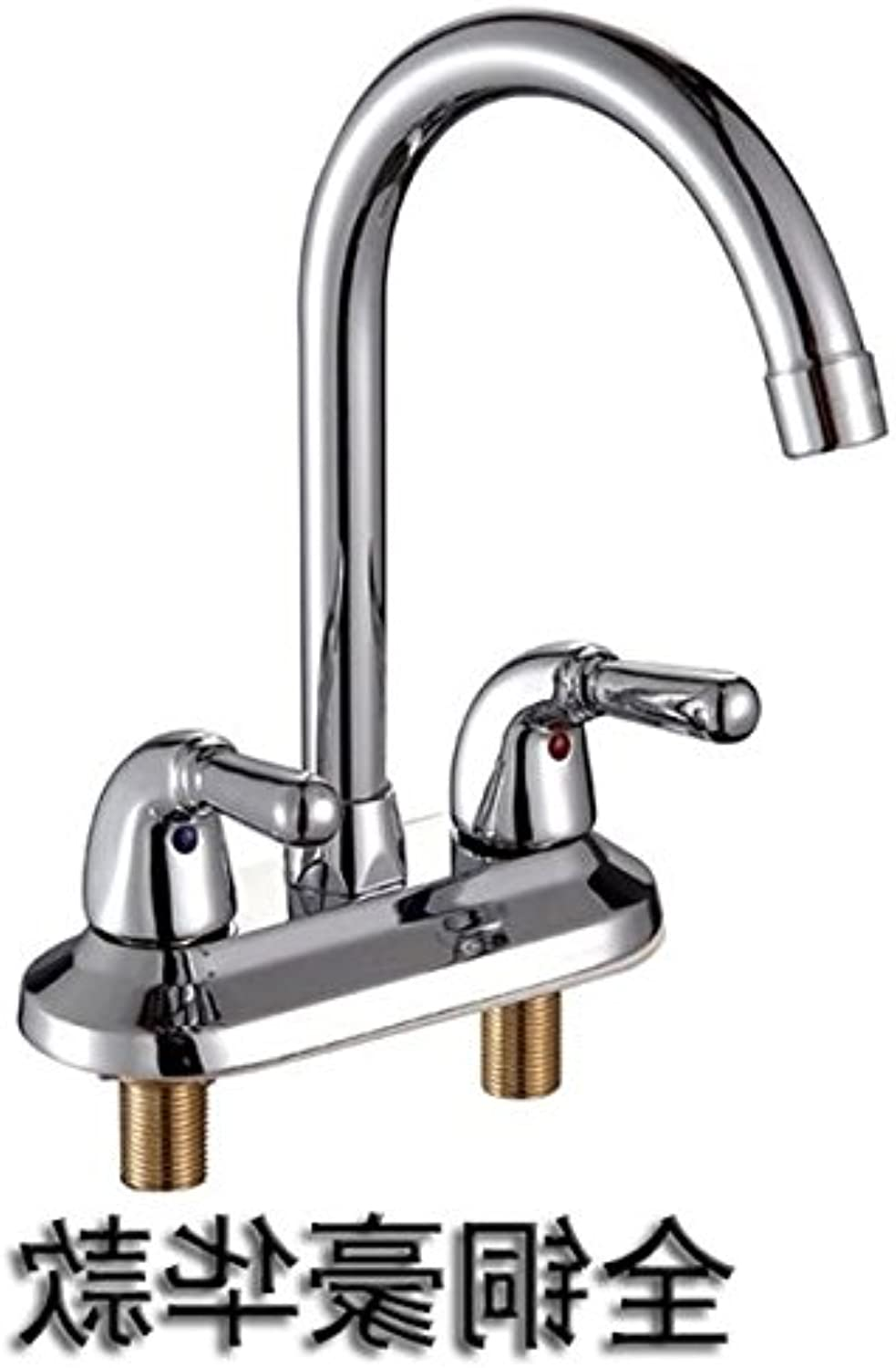 NewBorn Faucet Kitchen Bathroom Sink Mixer Tap Double-Double-Hole Full Copper Basin Stainless Steel Chrome Platedc